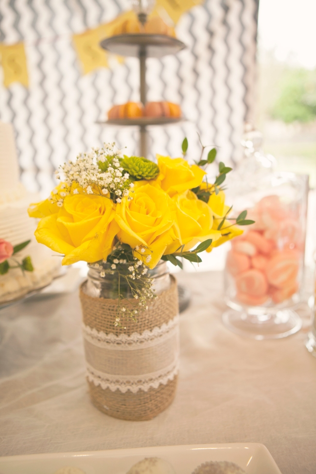 candy dessert table yellow roses