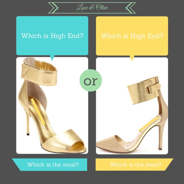 High End: Giuseppi Zanotti VS Steal: Lulu's Ines 11 Gold Ankle Cuff