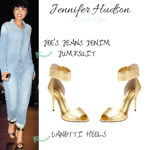 Jennifer Hudson is rocking her Joe's Jean denim jumpsuit with her Giuseppe Zanotti gold ankle heels!