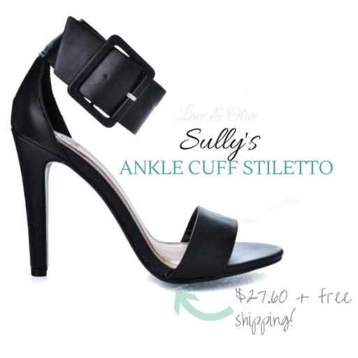 Office Dress Ankle Cuff Strap Peep Toe Stiletto Heel Sandals