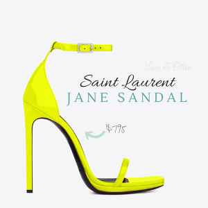 neon yellow YSL Jane strap sandal