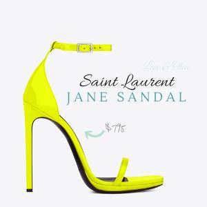 neon yellow YSL Jane strap sandal