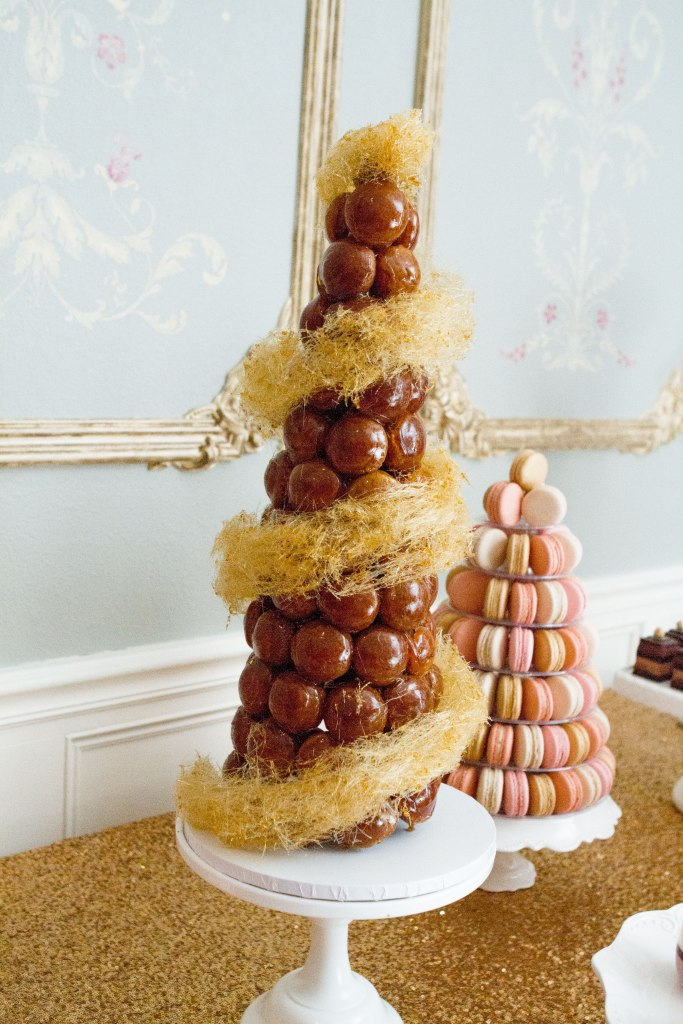 beautiful croquembouche tower